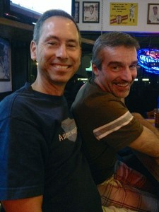 Jim Weaver and Rich Baumiester smile while they enjoy drinks together at a bar. The couple look forward to getting married Aug. 29 in Florida.
