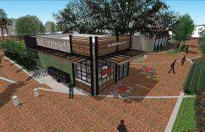 A second cafe that offers outdoor seating will be added to the north end of Bo Diddley Plaza. In the distance, a four-panel water water will serve as a distinct entry to the plaza and all of downtown, said Sarah Vidal-Finn, Gainesville CRA manager.