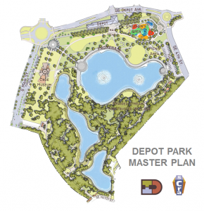 """The Gainesville Community Redevelopment Agency's Depot Park project will feature a picnic pavilion, children's playground and waterside promenade. """"The Depot Park project is 32 acres and it's a major amenity but is also close to the rest of downtown,"""" said CRA project manager Nathalie McCrate."""