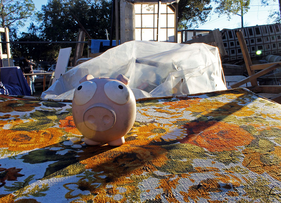 A squeaky pink pig sits in the sunshine on a floral couch. It appears as if it's waiting for someone to give it a new life.