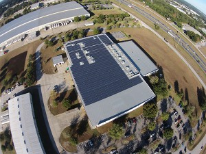 The building photographed is the largest solar installation in Marion County. Recently completed, the installation is estimated to generate 1,000,000 kilowatt-hours of electricity.