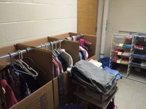 A second room at Gainesville High School is filled with donated clothes for families in need. Yariv has been collecting donations for the ESOL Closet for the past 20 years and hopes that social media will encourage more UF students to donate.