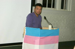 Hiram-Martinez Cabrera, Pride Awareness Month (PAM) director at the University of Florida, gives a speech during Transgender Day of Remembrance. He hopes to utilize various trans-oriented PAM events to get people engaged in lobbying against H.B. 583. Photo courtesy of Hiram Martinez-Cabrera.