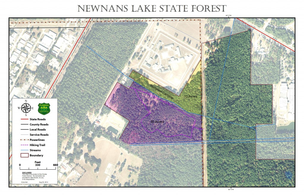 The City of Gainesville is finalizing plans with the state to lease 10 acres of Newnans Lake State Forest for 50 years at no cost to the city. The land is currently occupied by the homeless residents of Dignity Village