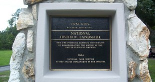 """Fort King NHL plaque Ocala01"" by Ebyabe - Own work. Licensed under CC BY-SA 3.0 via Wikimedia Commons - http://commons.wikimedia.org/wiki/File:Fort_King_NHL_plaque_Ocala01.jpg#/media/File:Fort_King_NHL_plaque_Ocala01.jpg"