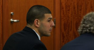 Former New England Patriot's player Aaron Hernandez appears at his final pre-trial conference in the case against him for the murder of Odin Lloyd. Hernandez was convicted on first-degree murder on Wednesday.