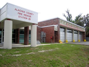 Alachua County Fire Rescue Station #25 is one of the government buildings that is getting a solar roof installed. After assessing the buildings, 24 were approved. Rebecca Rubin / WUFT News