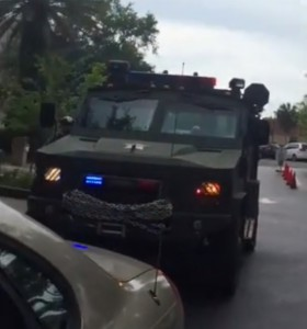 The Alachua County Sheriffs's Office Lenco BearCat Armored Personnel Carrier.