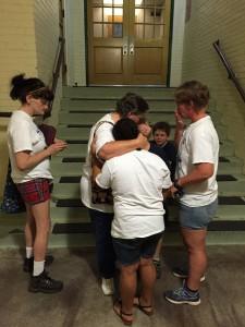 Debbie Powell consoles her grandchildren in wake of the decision.