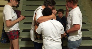 Debbie Powell consoles her grandchildren in wake of the decision.