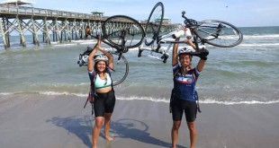 Alex and Leah Sanchez at the start of their Bike & Build trip in Charelston, South Carolina . The two dipped their bikes in the Atlantic Ocean before beginning the trip on May 26. The next time they see an ocean, it will be the Pacific.