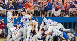 Kirby Snead celebrates  Florida's win over FSU with his team on June 6.