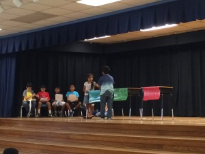 "Judy Beverly's summer migrant students perform ""The Three Little Pigs"" at Alachua Elementary on June 25. The play marked the end of the three-week camp."