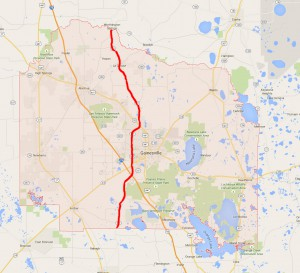 The red line shows the new county line on State Road 121, where the boundaries of Springs County and Alachua County would meet. Jonathan Munoz / WUFT News