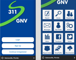 The interface of mobile service 311GNV on the iPhone. Debora Lima / WUFT News