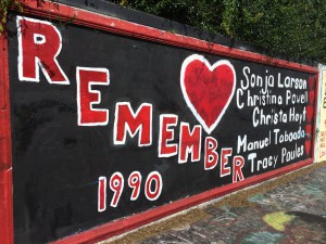 The portion of the 34th Street wall dedicated to the five victims of the 1990 Gainesville student murders. This mural does not get painted over and is one of the lasting memorials of the murders 25 years ago. Photo by Alex Maminakis.  Audio: Spencer Mann discusses his thoughts on the 25th anniversary of the student murders and reflects back a bit on his time spent working the case, as well as what the 25 years since it happened have meant for him and the city of Gainesville.