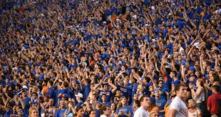 Florida fans celebrate after wide receiver Antonio Callaway (81) scores a touchdown.