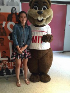 Li poses with MIT's mascot, Tim the Beaver. She competed against 293 other students at MIT's Math Prize For Girls and is the first student from Buchholz and only student from Florida to place. Photo courtesy of Ellen Li.