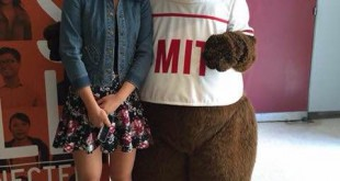 Li poses with MIT's mascot, Tim the Beaver. She competed against 293 other students at MIT's Math Prize​ For Girls and is the first student from Buchholz and only student from Florida to place. Photo courtesy of Ellen Li.