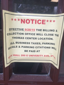The city moved its Billing and Collections Office from the Thomas Center to City Hall, sparking worries that the move will result in longer lines and parking tickets for those seeking city decals.