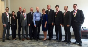 Governor Rick Scott awarded seven business men and women with the Young Entrepreneur Award Thursday at the Florida Innovation hub at UF. Gainesville Mayor Ed Braddy, Hub Director Jane Muir, and UF President Kent Fuchs congratulated the recipients alongside the governor.