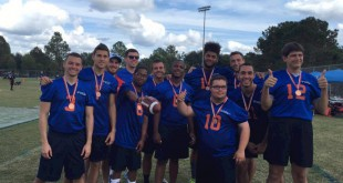 The UF Special Olympics College Unified Gators flag football team pose with their unified partners after winning third place at this past weekend's Swamp Bowl. This is the first time UF has ever had a Special Olympics team. Photo  courtesy of Charles Joseph Lewandowski.