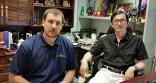 Devon Grimme, director of business development for Promethean Pharma LLC, and his colleague Stephen Hsu. Grimmé died last month in an accident in Hawaii, and a scholarship has been created in his name. It will be awarded to those students who exemplify Grimmé's engagement in the community and passion for finding business solutions to social problems.