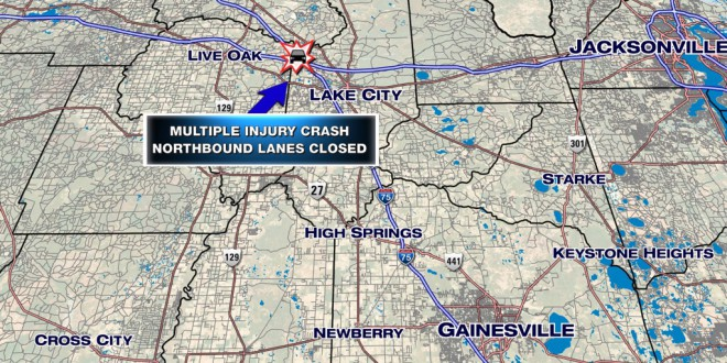 Location of traffic accident occurring on I-75 northbound in Columbia Country.