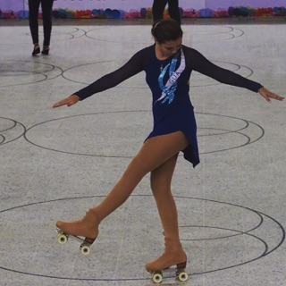 """Cesia Salan warms up on her first day of competition in Cali, Colombia this September. """"It's all about precision and some say it's the hardest division of skating out there,"""" said Salan, speaking on figure skating. Photo courtesy of Cesia Salan."""