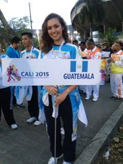 Cesia Salan leads her teammates in a processional during the opening ceremony at the Artistic Skating World Championships 2015. Salan is part of the country's first roller skating group. Photo courtesy of Cesia Salan.