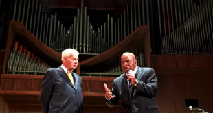 John Lewis joined Bob Graham on stage Friday, October 16, to answer questions from the audience after his speech on the 50th anniversary of the Voting Rights Act.