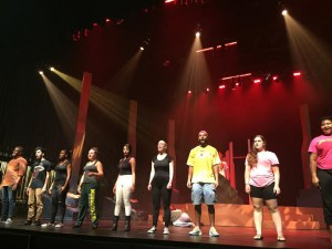 """A group of Santa Fe College Fine Arts students rehearse a dance number for """"Oedipus at Ichetuckneea."""" Around 50 students will participate in bringing the play together on Oct. 15-17."""