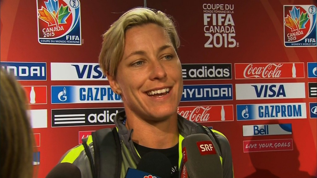 Abby Wambach plays forward for the US Women's National Team. They defeated Japan 5-2 to win the Women's World Cup.