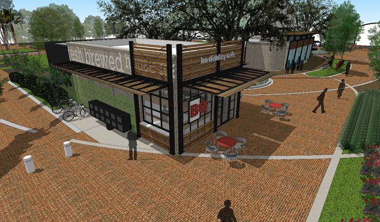 A completed rendering by the Gainesville CRA shows where the new possible restaurant will be. A choice for which restuarant that will be in the plaza should be made at the end of the year.