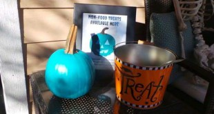 A teal pumpkin was placed outside the Redon house last Halloween to show they participated in the Teal Pumpkin Project. Photos courtesy of Melissa Redon.