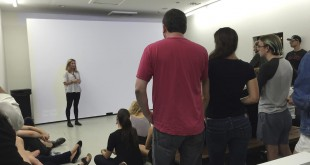 Lauren DeFilippo participates in a Q-and-A after the premiere of her short film, Clean Hands, at Gallery Protocol. The audience asked questions about the film, her filmmaking process, and the history of the church. Jenny Clements/ WUFT News