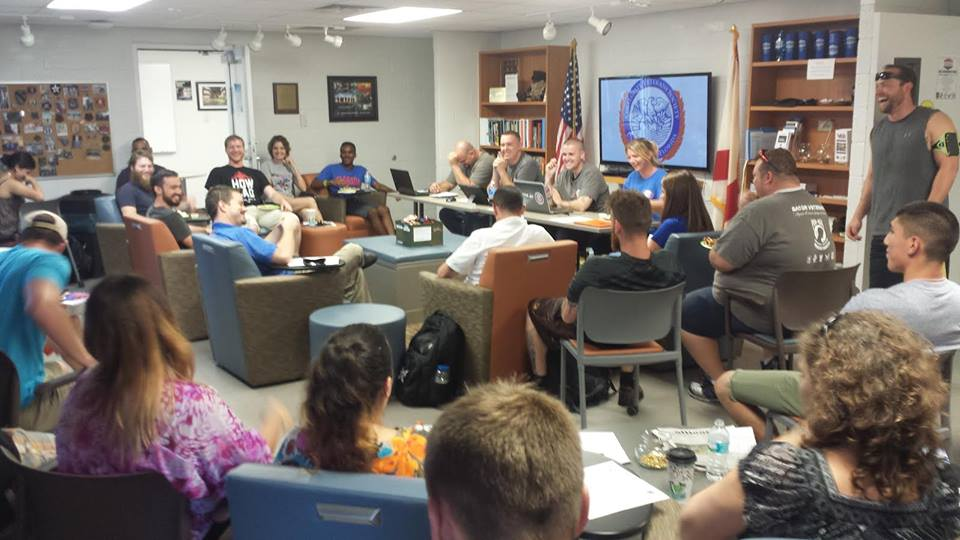 Members of the Collegiate Veterans Society meet in the Collegiate Veterans Success Center. In an email, Orlando said resources including the Collegiate Veterans Success Center, Office of Veteran Services, Collegiate Veterans Society, the Student Veterans Success Committee and a VetSuccess Counselor are in place for veterans at the university. Photo courtesy of Randall Martin.