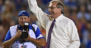 University of Florida President Dr. Kent Fuchs was the honorary Mr. 2 Bits for the rivalry matchup between the Gators and the FSU Seminoles. (Greenberry Taylor/ WUFT News)