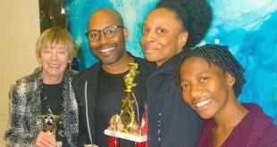 "Some of the cast and crew of ""Tshepang"" after their wins at the Florida Theatre Conference. Left to Right: Jan Cohen, Steven Butler, Jamaili Tyler and Mandisa Harrhoff. Photo courtesy of Steven Butler."