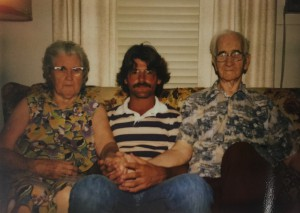 "David Jones sits between his grandparents Mabel and Tom Mirko in 1979. Jones' grandparents used to tell him stories, like how his step-grandfather met Richard Nixon when he was a senator on a trip abroad and stayed drunk the entire trip, calling him a ""no good S.O.B.,"" according to Jones."