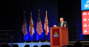 "Front-runner Donald Trump said border patrol agents in Texas are told to stand down. ""When I'm there they're gonna be told just the opposite, believe me,"" he said. Photo: Ariella Phillips/WUFT News"