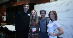 """The cast and director of """"The Wedding Story"""" (from left to right: Jeremy Cutter, Kate Osbron, Alex Christophy, and Leanne Bonello) smile after performing at the Florida Theatre Conference Festival. This was the first time Osbron directed a play. (Photo courtesy of Kate Osbron)"""