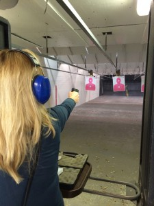 Brona, who is a friend of Michelle Pickett's, was practicing shooting during a Ladies Concealed Weapons Permit Class or CWP at Harry Beckwith Guns and Range. Harry Beckwith Guns and Range is all about educating individuals on firearm safety and proper use.
