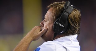 Florida coach Jim McElwain shows frustration as his team finds themselves down 20-2 in the fourth quarter. (Greenberry Taylor/ WUFT News)