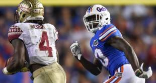 Florida defensive back Marcus Maye looks to stop Florida State University running back Dalvin Cook in the teams' 2015 game. Maye's season-ending injury during the South Carolina game Saturday makes him the third Florida player in the last two weeks who'll be out for the year. (File/ WUFT News)