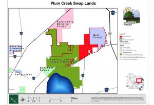 Plum Creek Swap will connect Newan's Lake Conservation Area and Balu Forest. The plan is to swap the 1,200 acres from Plum Creek with the county for the old fairgrounds.