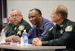 "[From left to right] Assistant Chief Gerald Butler, Sgt. Tim Ball, Chief Tony Jones and Captain Stephen Maynard speak on how they interact with civilians on a daily basis. The event, which was titled ""Right vs. Right,"" took place Nov. 14 at the Gainesville Police Department and gave citizens a chance to ask questions and hear from law enforcement officials."