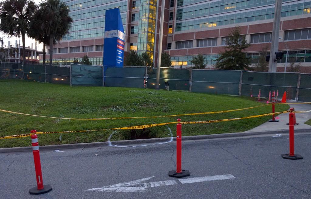 A sinkhole opened outside UF Health Shands. (Courtesy of Scott Harris)