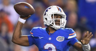 Florida quarterback Treon Harris (3) rears back his arm to make a pass. (Greenberry Taylor/ WUFT News)