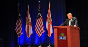 Donald Trump speaks at GOP Sunshine Summit in Orlando, Florida on Nov. 13, 2015. (Ariella Phillips/WUFT News)